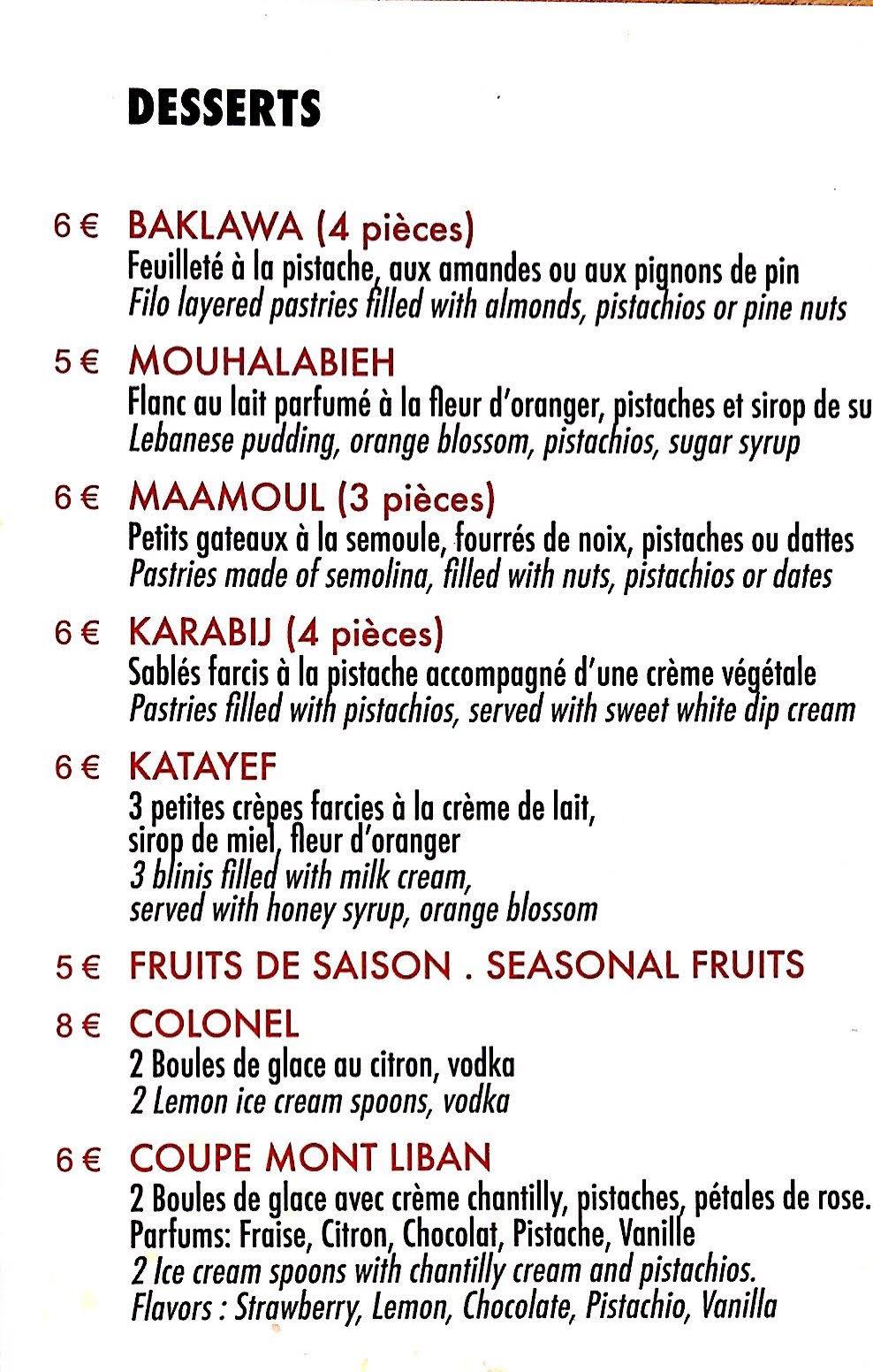menu dessert Le mont liban restaurant paris 17ème